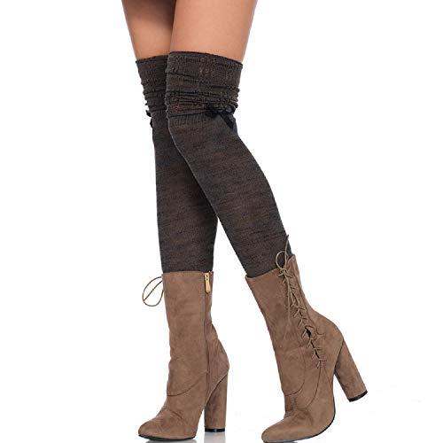 Leg Avenue 6345-Over the Knee Scrunch Sock, talla única, color verde y marrón