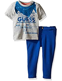 GUESS Baby Boys' Short Sleeve Tee and Knit Denim Pant Set
