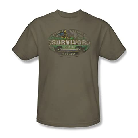 Cbs - Survivor / Gabon Distressed Adult T-Shirt In Safari Green, XXX-Large, Safari Green