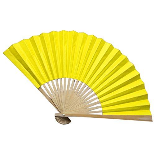 Kviklo Handfächer Folding Papierfächer Fächer Feste Ebene Bambus Kostüm Party Hochzeit Chinesisch/Japanisch Fan Dekorationen(Gelb,23cm) (Bamboo Schale-pinsel)