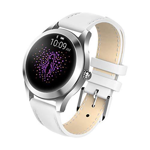 Finerwi La más Nueva Señora Reloj Inteligente Kingwear KW10 Impermeable IP68 Monitor de Ritmo Cardíaco de Acero Inoxidable Reloj Inteligente para Mujeres,1