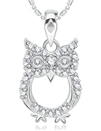 Vk Jewels Owl Rhodium Silver Brass Alloy Cz American Diamond Pendant For Women Vkp2119R