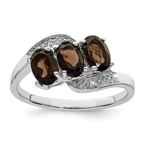 icecarats Anhänger 925Sterling Silber Rhodium Smokey Quarz Diamant Ring