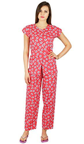 Bimba vêtements de nuit en coton chemise manches avec le costume pyjama de nuit Rouge