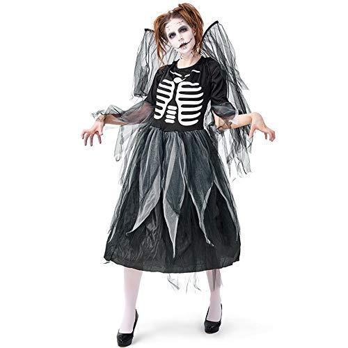 Angel Dark Kostüm Adult - Qy Damen Halloween Kleid, Adult Zombie Skeleton Dress Up, Dark Fallen Angel Net Rock, Menschliches Skelett Cosplay Kostüm, Festival Performance Kostüm