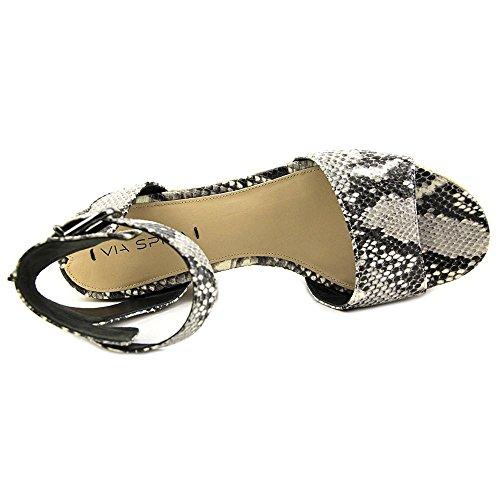 Via Spiga Nemy Animal Print Leder Keilabsätze Sandale Black/White
