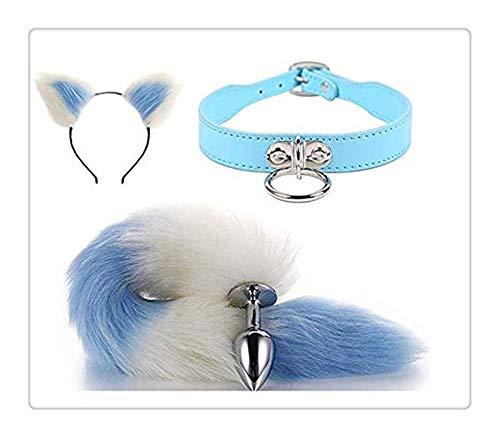 Z-one 1 Auto Tier Ohren Stirnband Kopfschmuck + Leder Halskette Choker Halskragen + Fox Metal Tail f¨¹r M?dchen Frauen Geschenke Set (White & Blue)