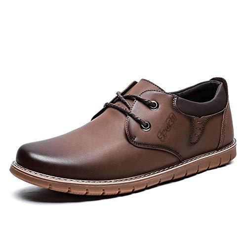JUJIANFU-Bequeme Schuhe Casual Oxford für Männer schnüren Stil Mikrofaser Leder Starke Antislip Stave Toes Walk Schuhe (Color : Braun, Größe : 39 EU)