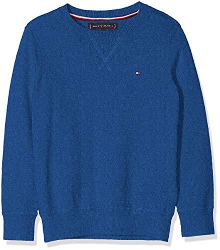 Tommy Hilfiger Jungen Pullover Essential CTN/Cashmere Sweater, Blau (Olympian Blue Heather 412), 152 (Herstellergröße: 12)