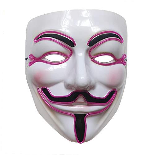 TSAA Zohong Halloween Vendetta LED Maske Leuchtend Cosplay Maskerade Kostüm Party Zubehör, violett, Einheitsgröße