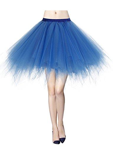 Gardenwed Tutu Damenrock Tüllrock Reifrock 50S Kurz Ballet Tanzkleid tütü Unterrock Rockabilly Petticoat für Karneval Partykleid Royalblue XL