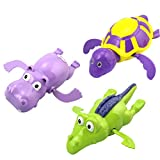 Yeahibaby 3pcs Pool Wind Up bagno giocattoli animali tartaruga ippopotamo coccodrillo nuoto vasca vasca Clockwork Play Toy Kid bambini acqua giocattoli educativi