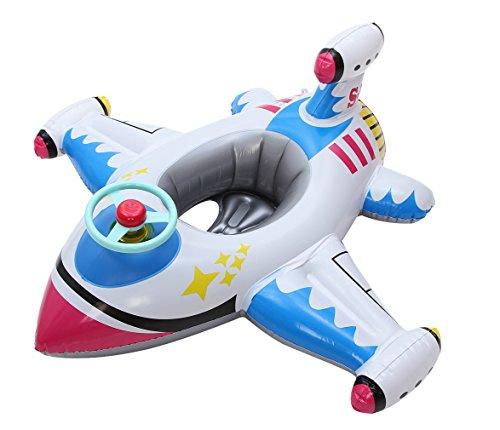 Eozy Baby Kleinkind Flugzeug Schwimmsitz Aufblasbarer Schwimmring Kinderboot für 2-8 Jahre Weiß