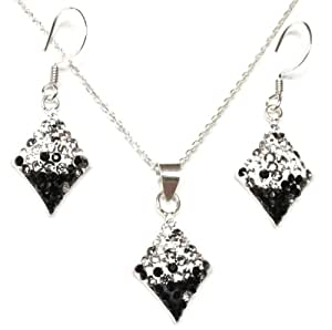 DECORUM JEWELLERY black and clear crystal diamond shaped necklace on a 45cm rolo chain, with matching drop earrings. Made with Solid Sterling Silver and Swarovski Crystals .