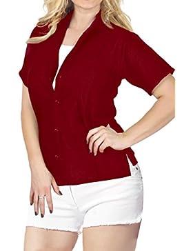 *La Leela* Collar Ropa de Playa con Botones de La Blusa Superior Encubrir Camisa Hawaiana de Manga Corta Damas