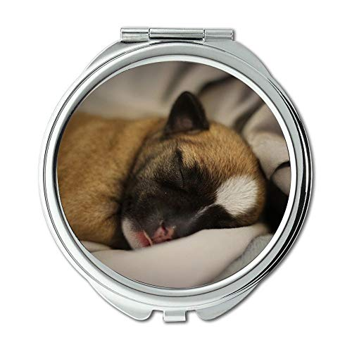 Yanteng Spiegel, Compact Spiegel, Welpe Chihuahua Hund Cute Cosy Pet Little Brown, Taschenspiegel, tragbarer Spiegel
