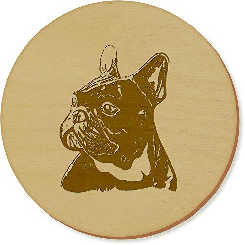Azeeda 6 x 'Französisch Bulldogge Kopf' Runde Hölzerne Untersetzer (CR00078940) (Gefüllt Bulldogge Französische)