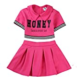 Kinder Mädchen Cheerleader Kostüm Uniform Karneval Fasching Party Halloween Weihnachten Kostüm Kleid Cheerleading Jazz Bekleidung mit 2 Pompoms und Socks Rose 160