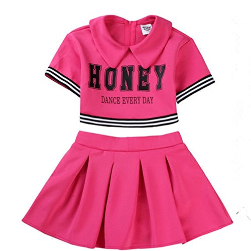 Kinder Mädchen Cheerleader Kostüm Uniform Karneval Fasching Party Halloween Weihnachten Kostüm Kleid Cheerleading Jazz Bekleidung mit 2 Pompoms und Socks Rose 130