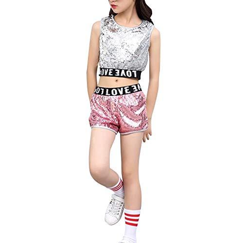 Huatime Tanzsport Bekleidung Mädchen Kleider - Kinder Erwachsene Tanzen Hip Hop Modern Kostüme Pailletten Anzüge Mode Sets Weste + Shorts Mantel Tanzbekleidung