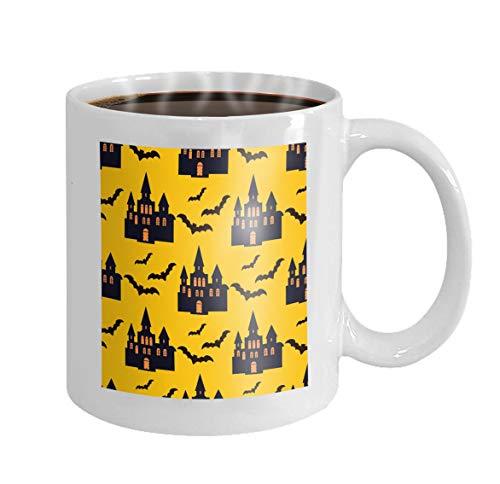 11 oz Coffee Mug halloween pattern holiday design design template haunted castle trees bats full moon Simple