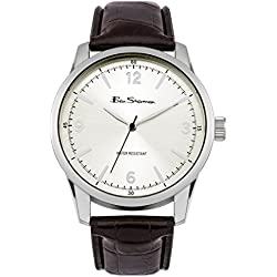 Ben Sherman Men's Quartz Watch with Silver Dial Analogue Display and Black PU Bangle BS104
