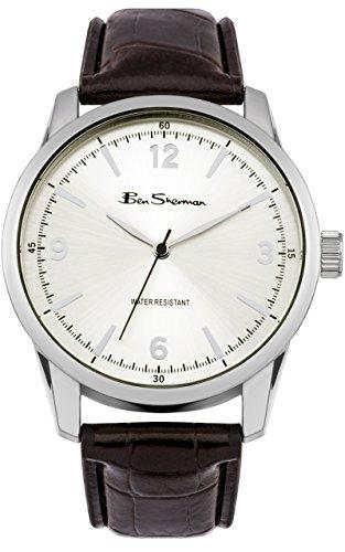 Ben Sherman BS116 Orologio da uomo al quarzo, con display analogico e cinturino in pelle, colore: argento/marrone