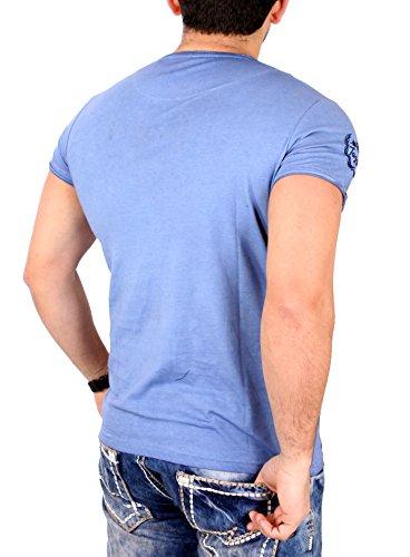 Tazzio T-Shirt Herren Vintage Ornament Look Kurzarm Shirt TZ-16155 Blau