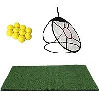"""Homyl 24"""" Tapis d'Entraînement Golf + Filet Formation de Chipping de Golf + 10pcs Balle de Golf en PU Mousse Accessoire Pratique Golf"""