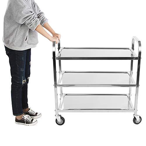 Estink Servierwagen mit Rädern, 3 Ebenen, Stahl, Küchenwagen, mit Bremse, für Hotel, Restaurant, Lagerung, 850 x 900 x 450 mm 1 Teil