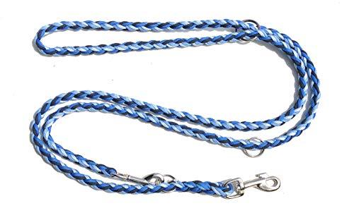 Viva Nature Handgeflochtene Paracord Hundeleine/verstellbare Führleine/Flechtleine/Funktionsleine Doppelleine ca.2m 3 Ringe/Hunde/Leine / (Blau) -