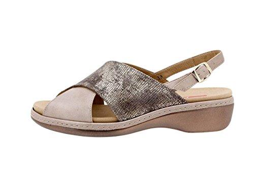Komfort Damenlederschuh PieSanto 1814 Sandale mit herausnehmbarem Fußbett bequem breit Taupe