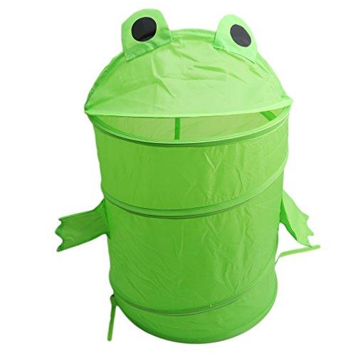 ODN Multifunktionale Faltbare Wäschekörbe Baumwolle Leinen Wäschebox Wäschesammler Kinder Spielzeug Aufbewahrungskorb Aufbewahrungsbox mit Deckel (Frösche) (Dia-aufbewahrungsbox)