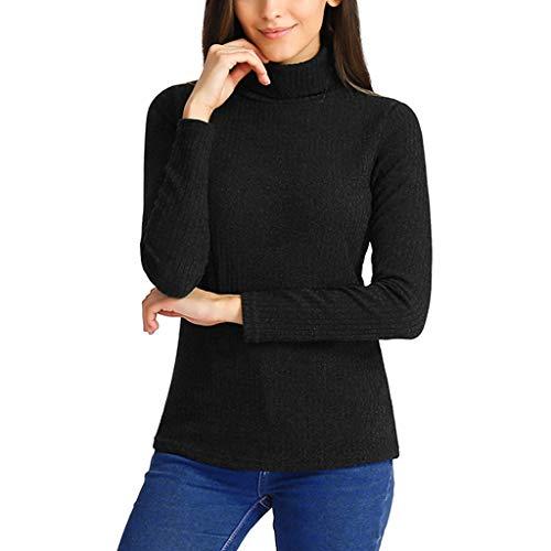 (IZHH Mode Damen Tops, Rollkragen Langarm Slim Fit Baumwolle Einfarbig T-Shirt Lässig Täglich Büro Tops Langarmshirt(Schwarz,Small))