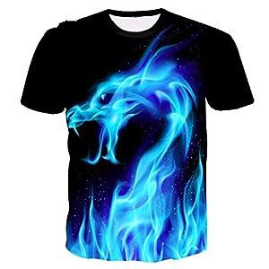 ZzSTX Blaues T-Shirt 3D Print Hip Hop Männer Hemd Sommer Kleidung Plus Size T Tops