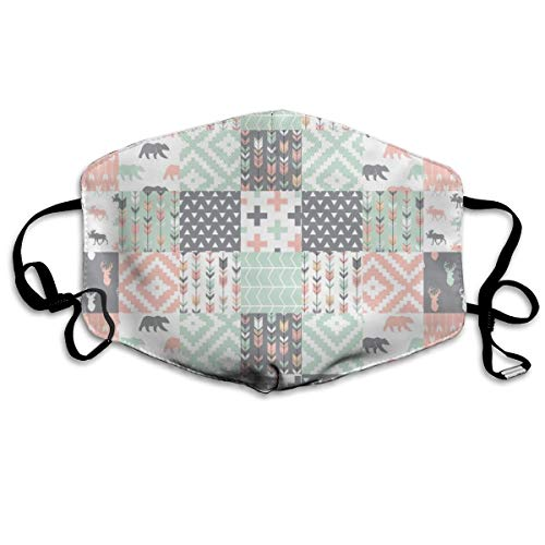 Willow Woods Patchwork Quilt Top - Pink, Grey, Mint - Woodland Anti Dust Mask Anti Pollution Washable Reusable Mouth Masks Vintage Willow