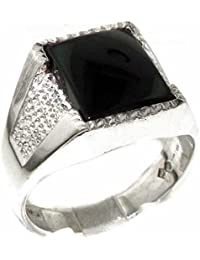 Gents Solid 925 Sterling Silver Natural Onyx Mens Signet Ring, Made in England