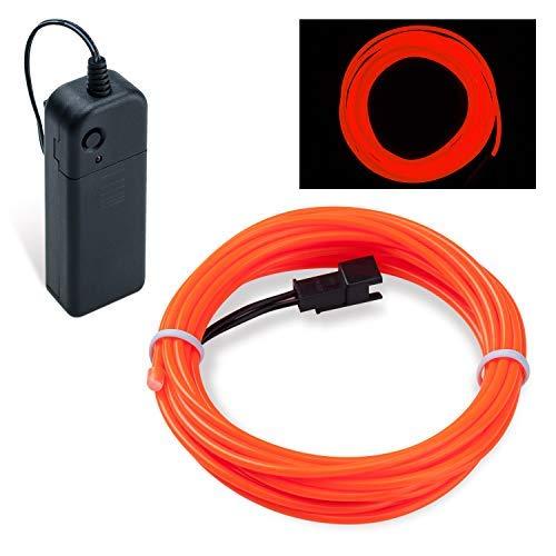 Lysignal Wasserdicht Flexibel 5M 15 FT Neon Beleuchtung Lichtschlauch Leuchtschnur EL Kabel Wire mit 3 Modis für Disco Party Kinder Halloween Kostüm Kleidung Weihnachtsfeiern (Orange)