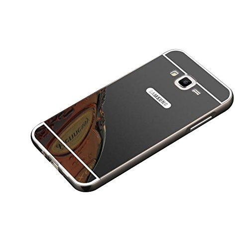Minto Luxus Aluminium Metall Spiegelhülle Schutzhülle + Panzerglasfolie iPhone 5 / 5S / SE Spiegel PC Rückseite Case Cover Hülle Gold + Metall Bumper Rahmen Echtglas Hartglas Schutzfolie 9H Schwarz -j3 2016