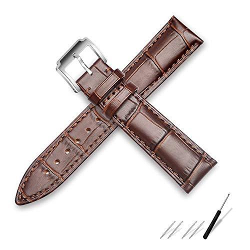 Schwarzes Armband Weiches Kalbsleder Uhrenarmband 18MM 20MM 22MM 24MM Wasserdichtes Uhrenarmband, Silber-Braun, 13MM ()