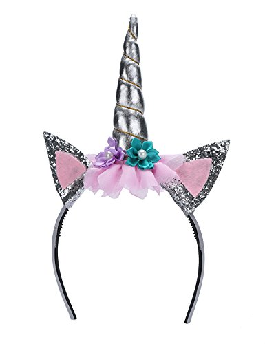Mescara Einhorn Horn Stirnband Halloween Unicorn Fancy Dress Kind Parteien Cosplay (Silber)