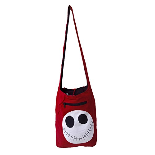 Solide Couleur Scary Face Patch Handloom coton Jhola épaule College Sac