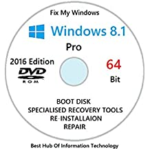 Windows 8.1 Professional 64-bit New Full Re Install Operating System Boot Disc - Repair Restore Recover DVD