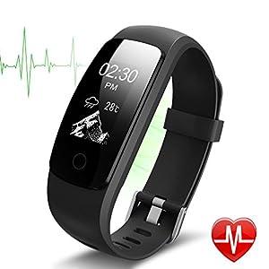 Pulsera inteligente, Lintelek monitor de ritmo cardíaco, sueño, GPS para correr, Impermeable IP67, Cronómetro, Bluetooth 4.0 compatible con IOS y Android, Negro