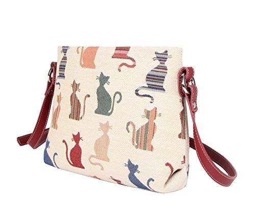 Modische Tapisserie Damen Schultertasche, Bodybag oder Messengertasche in Signare Blumen Lustige Katzen