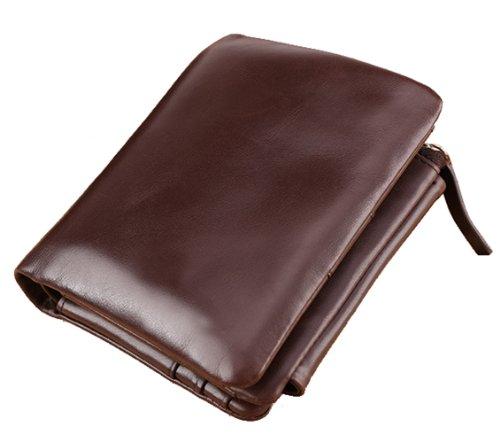 SAIERLONG Uomo Portamonete Portafogli portafoglio borsellino Caffè Pelle Di Mucca