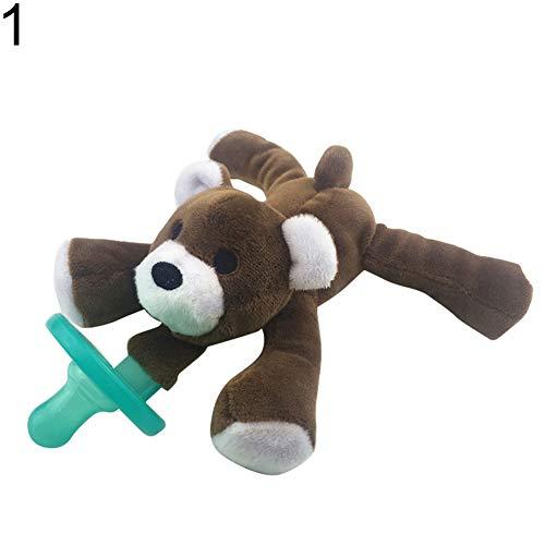 xMxDESiZ Lovely Baby Nipple Infant Silicone Pacifier with Cartoon Animal Plush Toy Gift 1# (1 Enfamil)