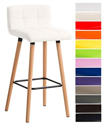 CLP Barhocker LINCOLN gesteppt mit Kunstleder-Bezug, Buchenholz-Gestell, Sitzhöhe 75 cm, Thekenhocker mit Rückenlehne + Fußstütze für optimalen Komfort Weiß