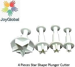 JoyGlobal Plastic Star Shape Plunger Cutter, 4-Pieces,Transparent