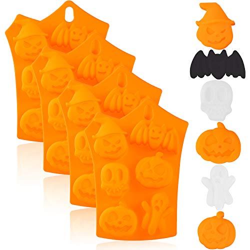 4 Stück Halloween Silikon Backformen Schokolade Keks Süßigkeiten Eiswürfel Formen mit Kürbis Fledermaus Totenkopf Geist Form für Küche DIY Backen Werkzeuge Supplies